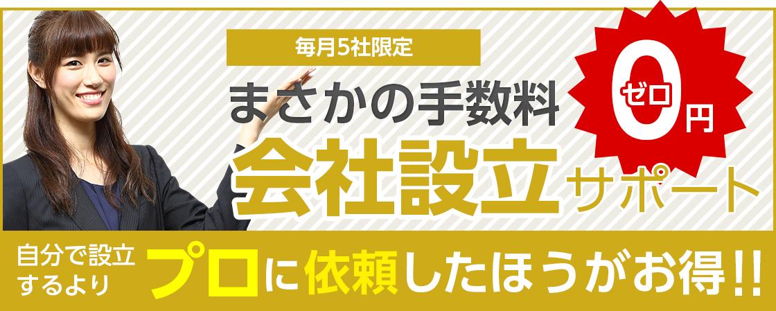 毎月5社限定 まさかの手数料0円 会社設立サポート 自分で設立するよりプロに依頼したほうがお得!!